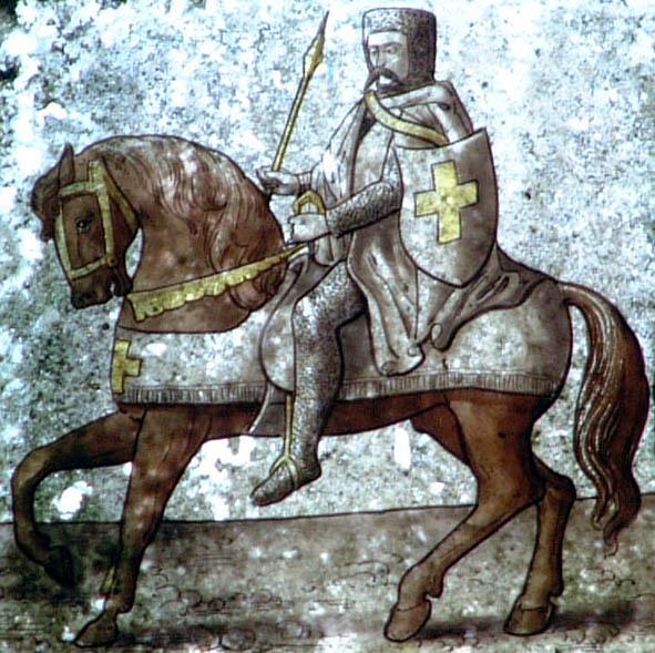 Templier à cheval, peinture ancienne